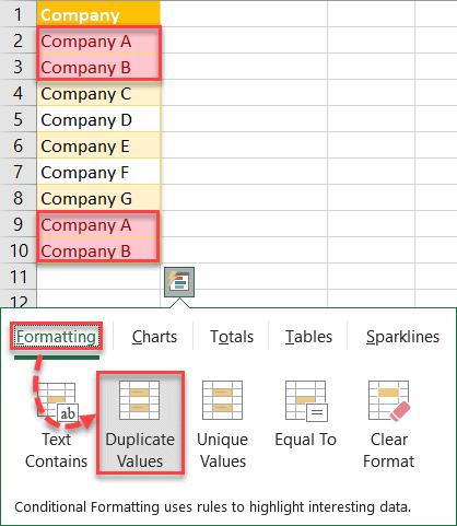 Click Duplicate Values
