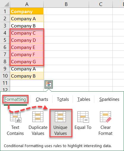 Click Unique Values