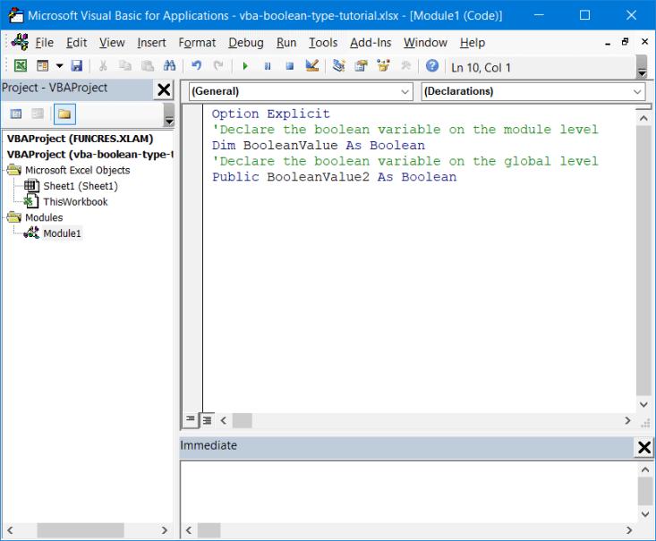 Declare Boolean variables
