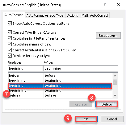 Disable AutoCorrect for the word in Excel