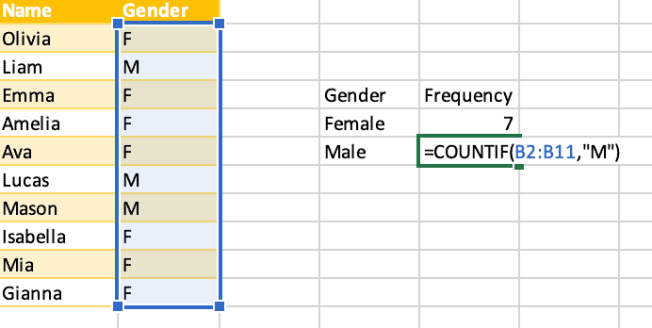 Use COUNTIF formula male
