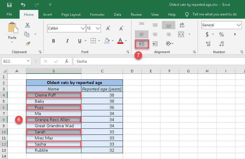 How to indent separate cells