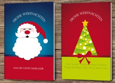 Illustrierte Postkarte Weihnachten