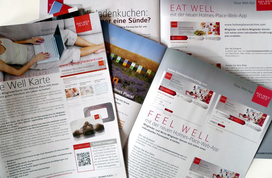 Redesign und Gestaltung von Kundenzeitschriften, Holmes Place