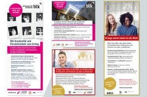 BiTS Unternehmerhochschule, BTK Hochschuke für Gestaltung, Anzeigen