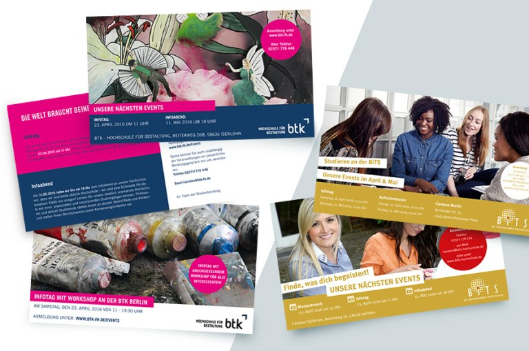 BiTS Unternehmerhochschule, BTK Hochschuke für Gestaltung, Eventkarten, Flyer