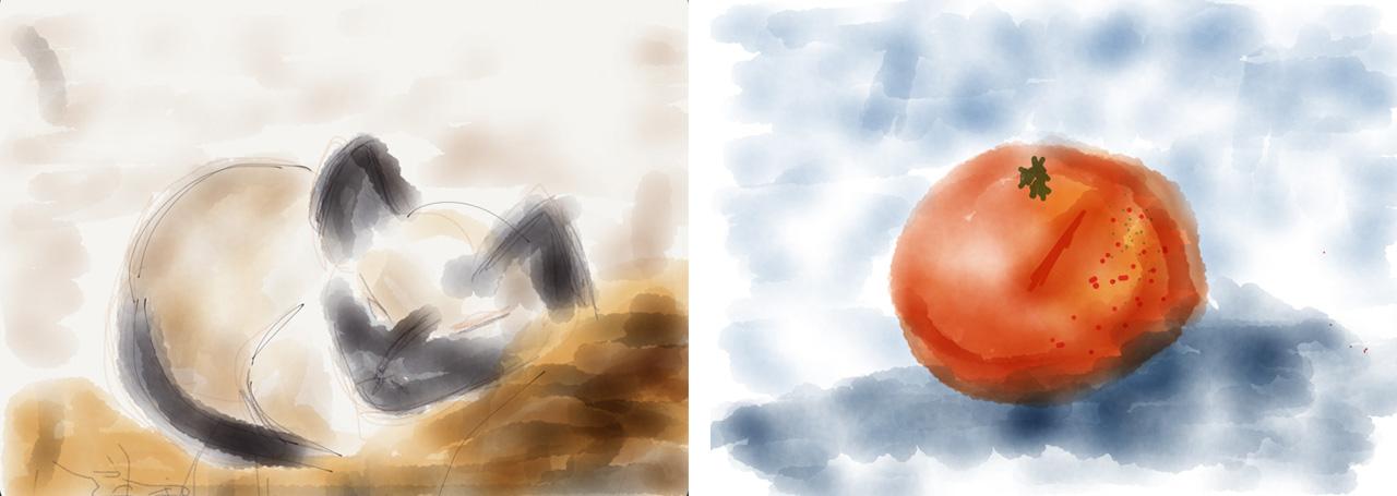 Illustration mit FiftyThree am tablet, Katze, Apfelsine