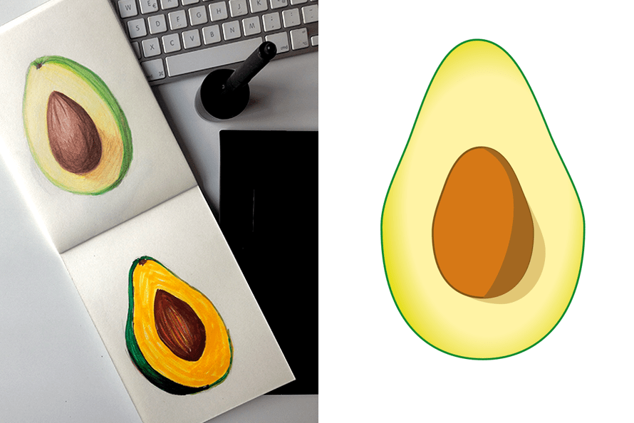 Avocado Illustration analog und digital