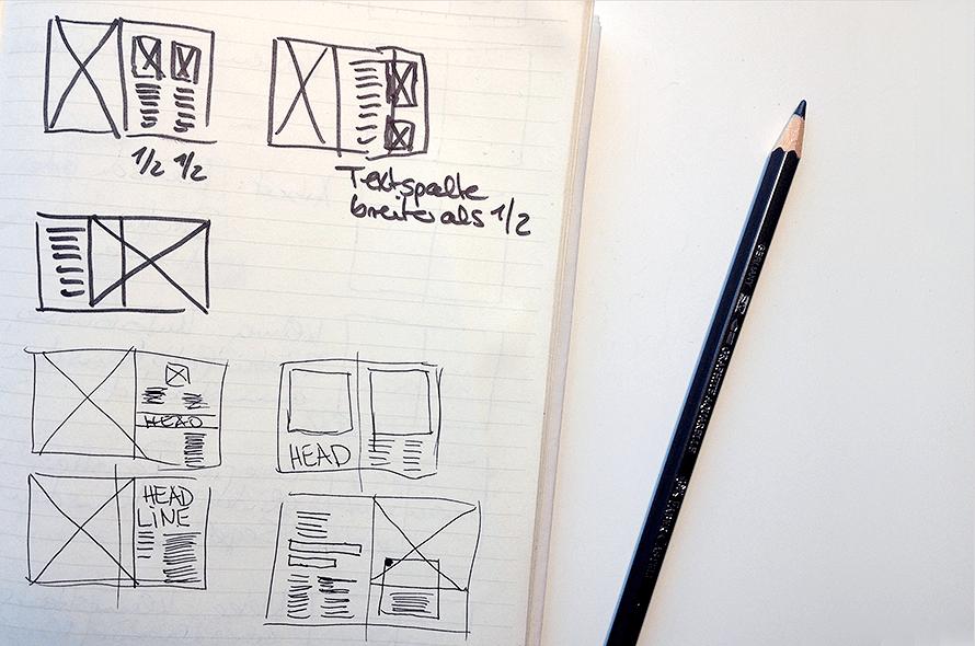 Scribble für Seitenaufriss, Seitenraster, Raster, Satzspiegel