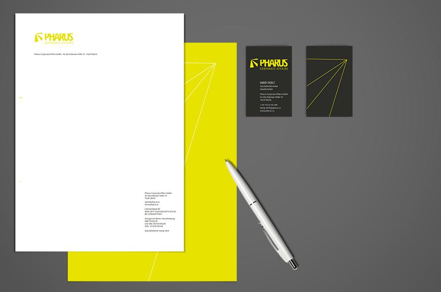 Pharus, Logogestaltung, Geschäftspapiere, Visitenkarten