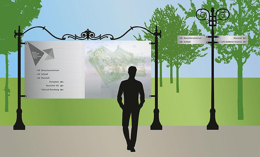 Idee zur Parkbeschilderung Fürst Pückler Park Branitz, Pitch