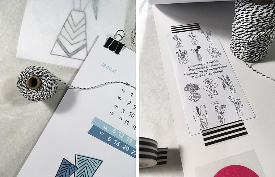 Aufhängung für illustrierten Kalender, Blumen Illustrationen, Vasen