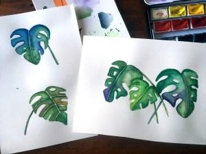 Monstera Blätter mit Wasserfarbe gemalt