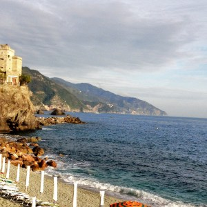View from Monterosso looking at the Cinque Terre