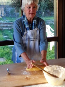 Myra working the dough