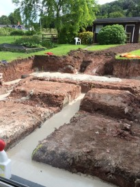 trenches full of concrete