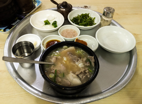 Pork Soup Rice with all the condiments