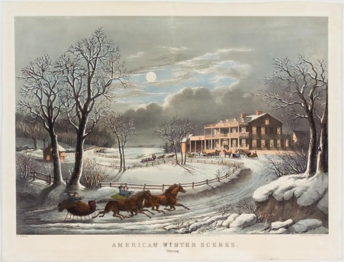 American Winter Scenes Evening Nathaniel Currier