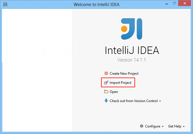 Click Import project