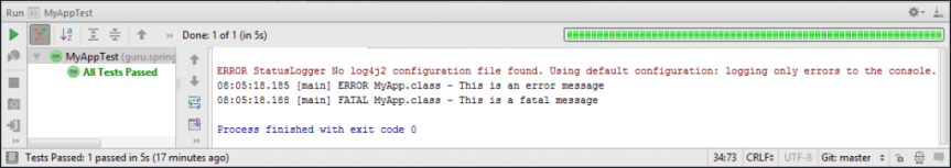Log4J 2 Output in IntelliJ