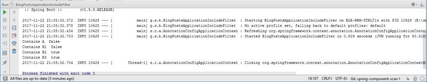 Output of BlogPostsApplicationIncludeFilter.java Class