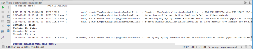 Output of BlogPostsApplicationIncludeFilter.java Class