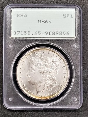 M04-43 1884 Morgan Silver Dollar PCGS MS65