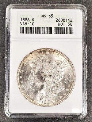 M04-57 1886 Morgan Silver Dollar ANACS MS65 Hot 50