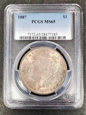 M04-63 1887 Morgan Silver Dollar PCGS MS65