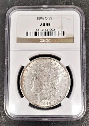 M04-71 1896 Morgan Silver Dollar NGC AU55