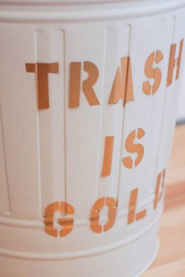 "Diy decorated garbage ""trash is gold"" ikea hack"
