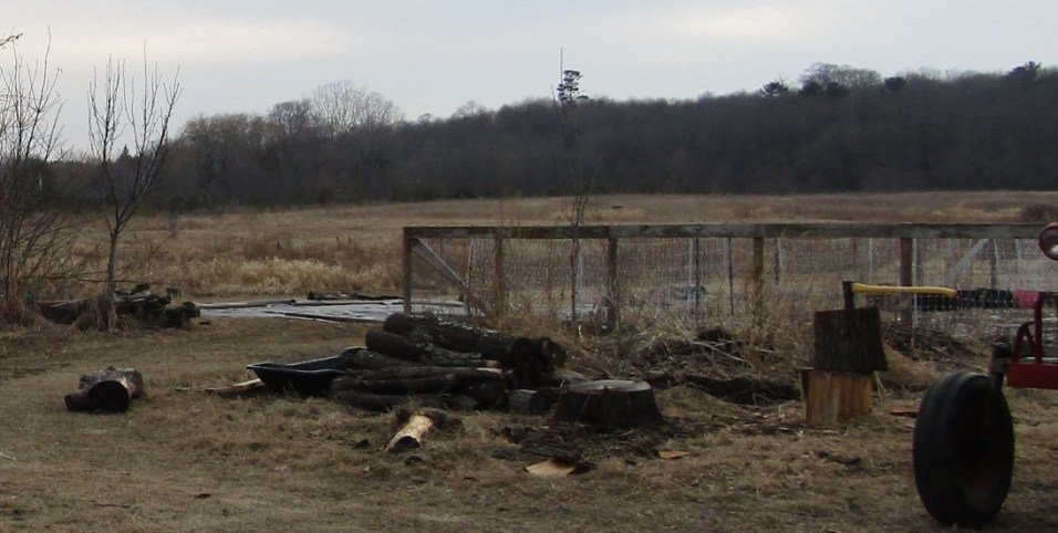 If you look in the background, you can see the tarp behind the fence is weighed down by some wooden fence posts. I pulled logs from the pile in the foreground to help weigh it down.