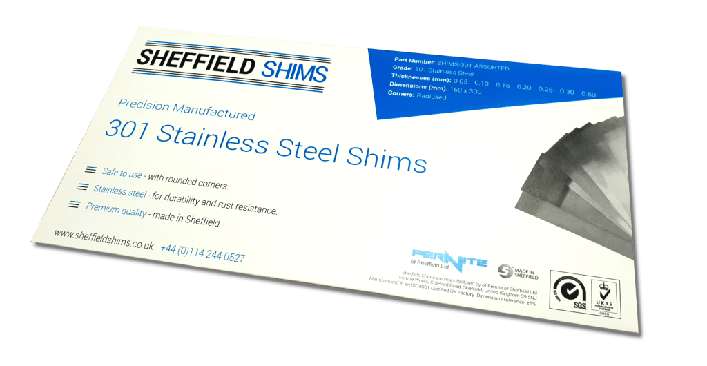 Sheffield Shims - High Quality shim packs manufactured in the UK from 301 stainless steel.