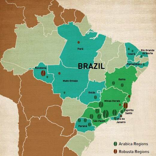Brazil coffee growing regions