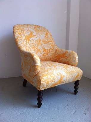 Victorian armchair in St Jude's 'Harvest Hare'