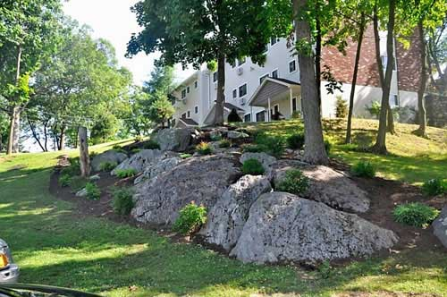 Rock landscaping around buildings