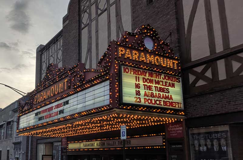 Paramount Theater facade with upcoming shows..