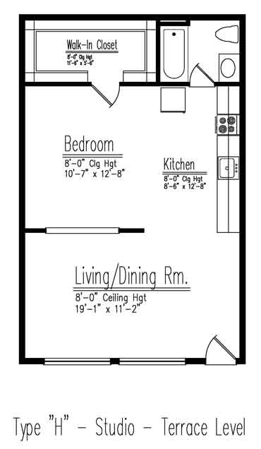 Type H Studio Apartment Floor Plan