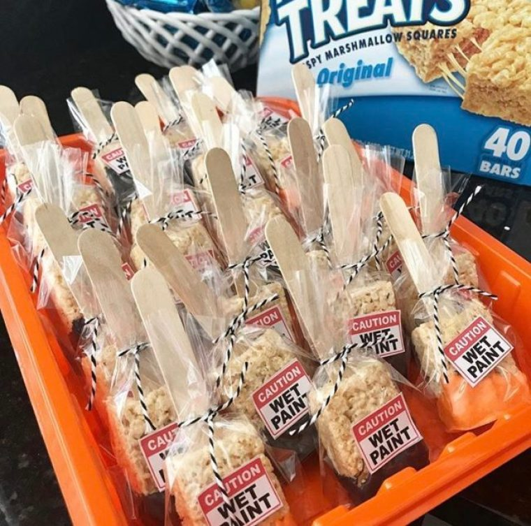 Bagged Rice Krispies Treat Paint Brushes in paint tray ready to be handed out