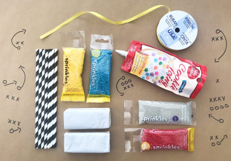 Overview of football ice cream sandwich supplies