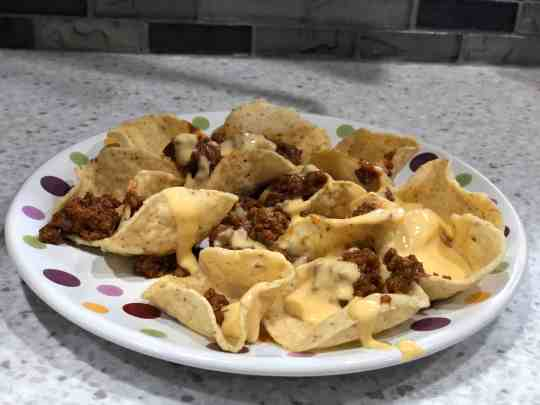 Chili Cheese Nachos made with game day chili sauce