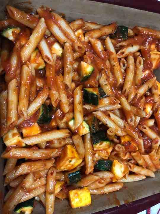 Vegetable Baked Ziti Preperation