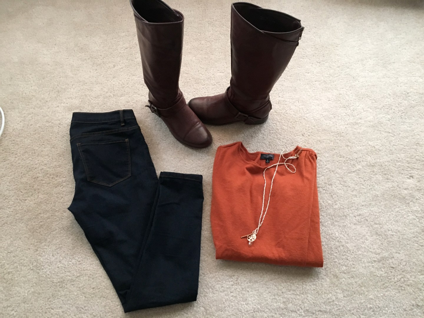 Rust Orange Top & Favorite Tall Boots; Fall OOTN