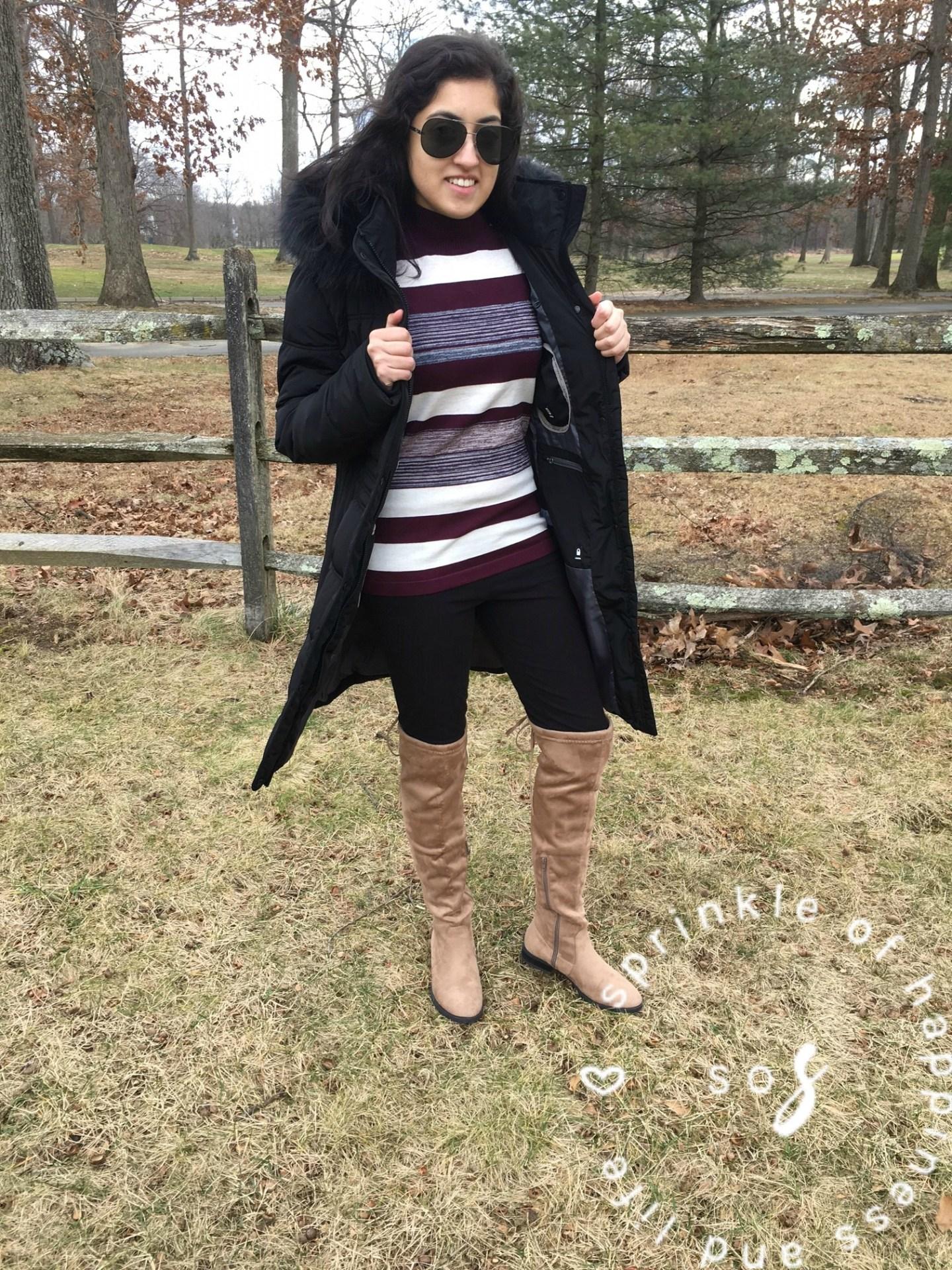 Cold Shoulder + OTK Boots! #ootd for Valentine's Day!