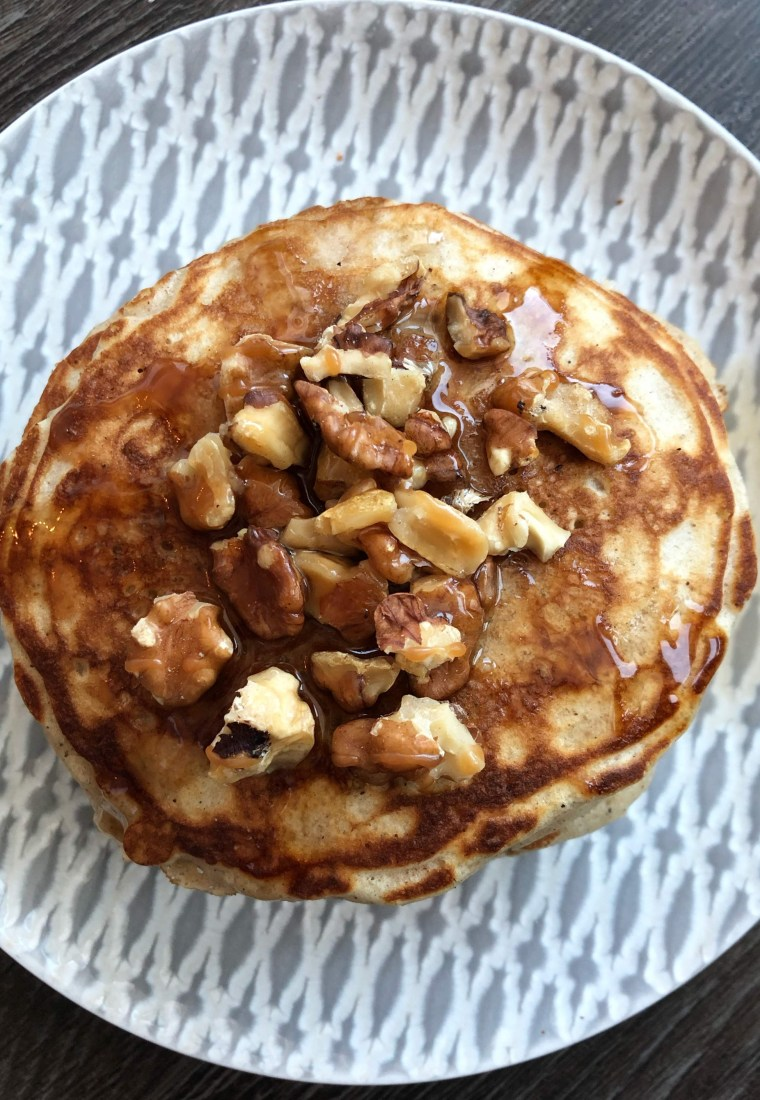 Festive caramel walnut pancakes