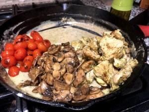creamy pesto pasta tomatoes mushrooms