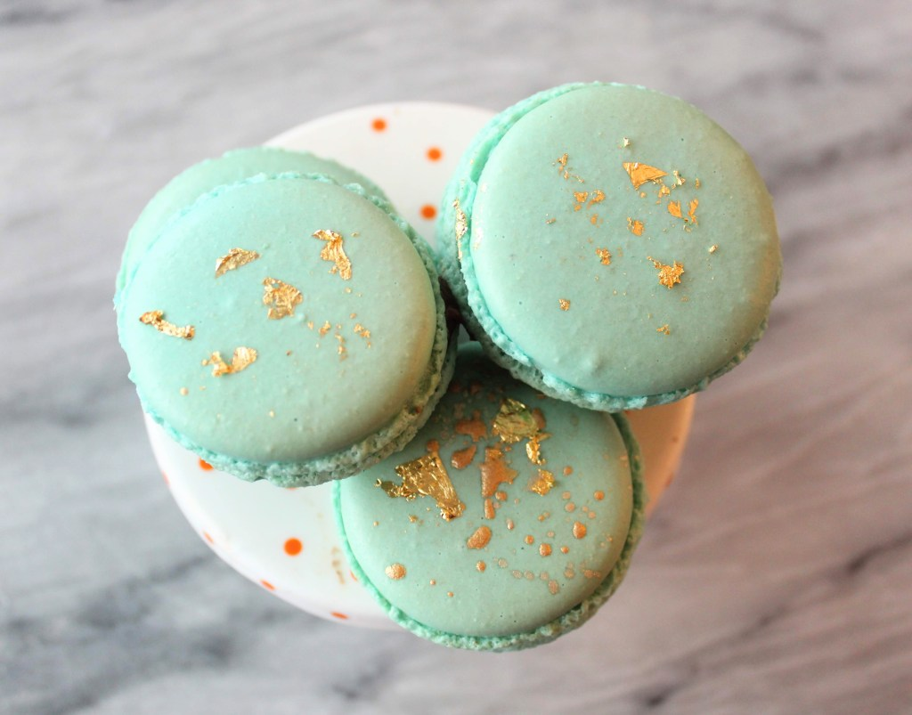 Edible gold Leaf on French Macarons - Decorate French Macarons