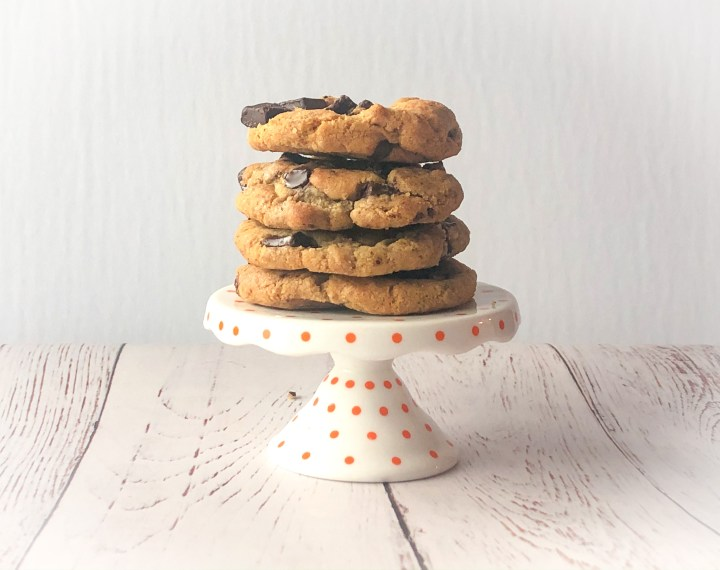 espresso chocolate chip cookies stacked on a mini stand