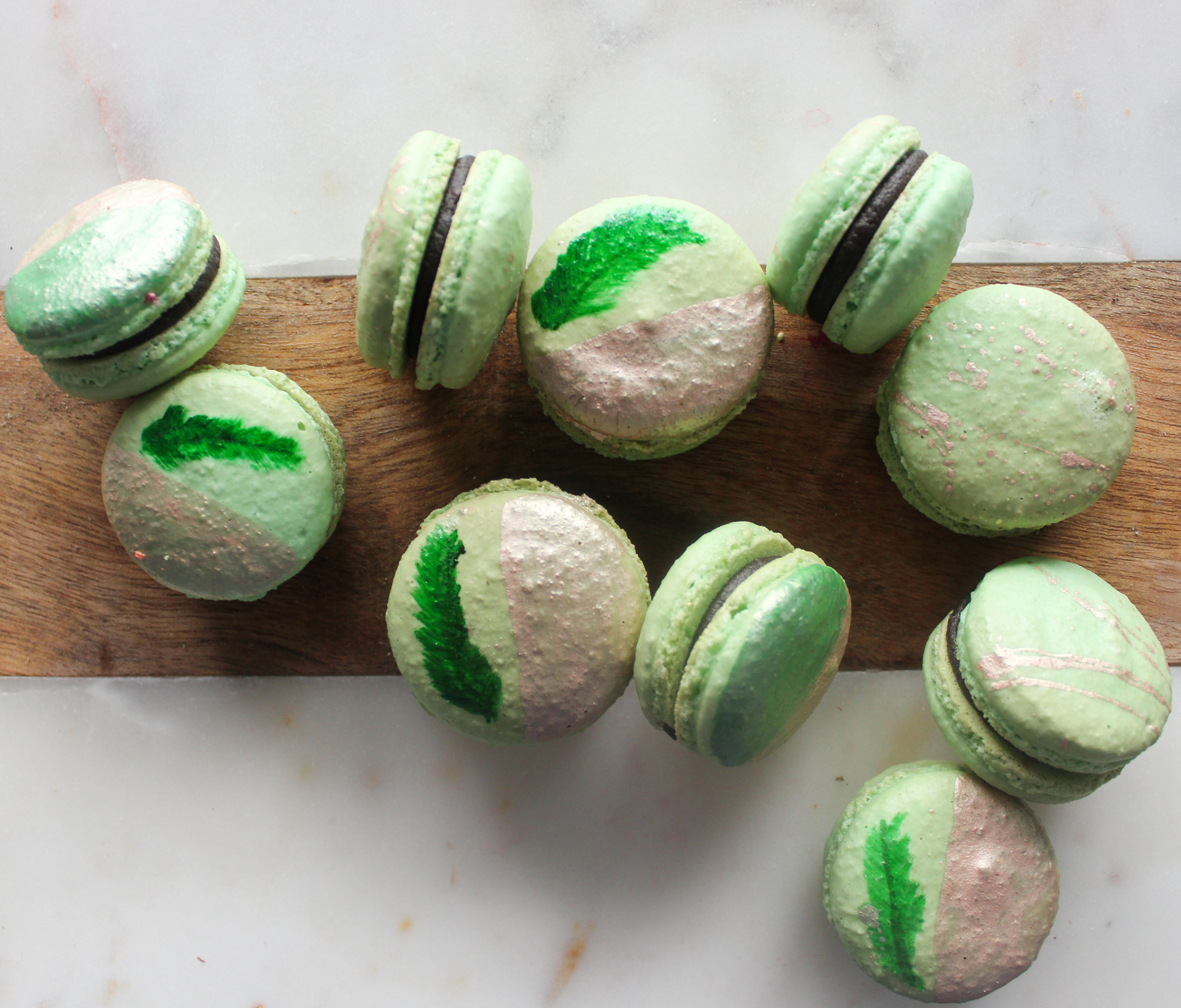 Painted Leaf Green & Rose Gold Macarons