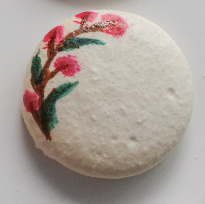 hand painted floral macaron step 3